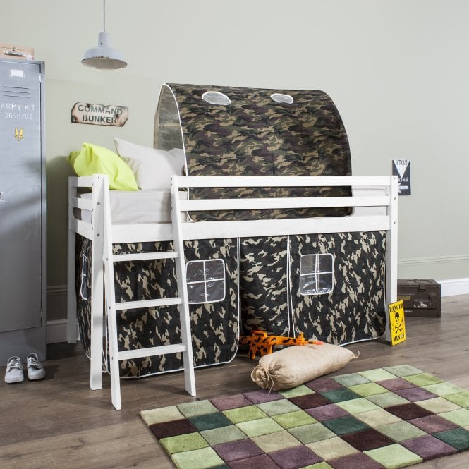 Cabin Bed with Tent, Tunnel & Mattress in Army Camouflage Design