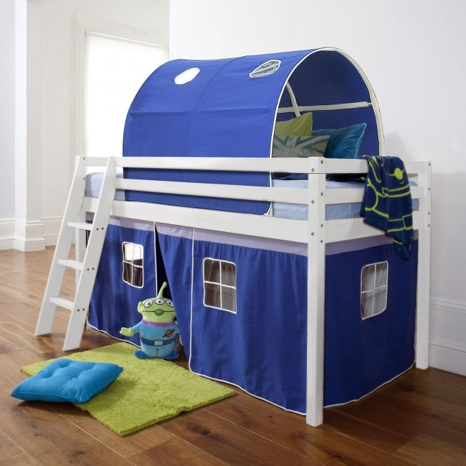 Cabin Bed with Tent, Tunnel & Mattress in Brilliant Blue Design
