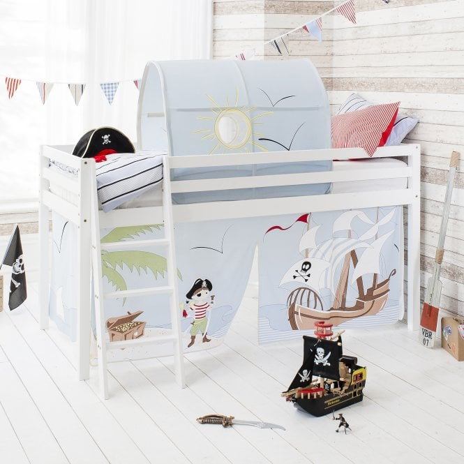 Pirate Pete Cabin Bed with Tent, Tunnel & Mattress in Pirate Pete Design