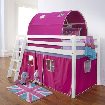 Cabin Bed with Tent, Tunnel & Mattress in Pretty Pink Design