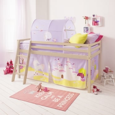 Cabin Bed with Tent, Tunnel & Mattress in Princess Fairytale Design