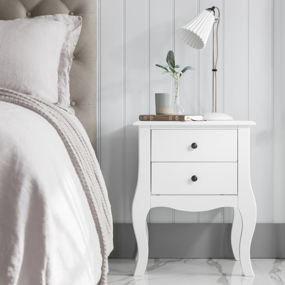 Camille 2 Drawer Side Table Chest In White Accessories
