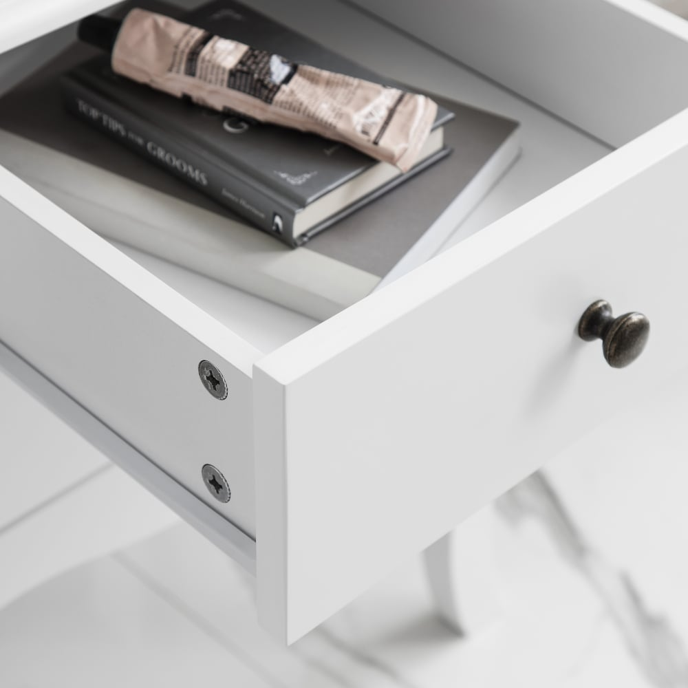 Camille 2 Drawer Side Table Chest In White