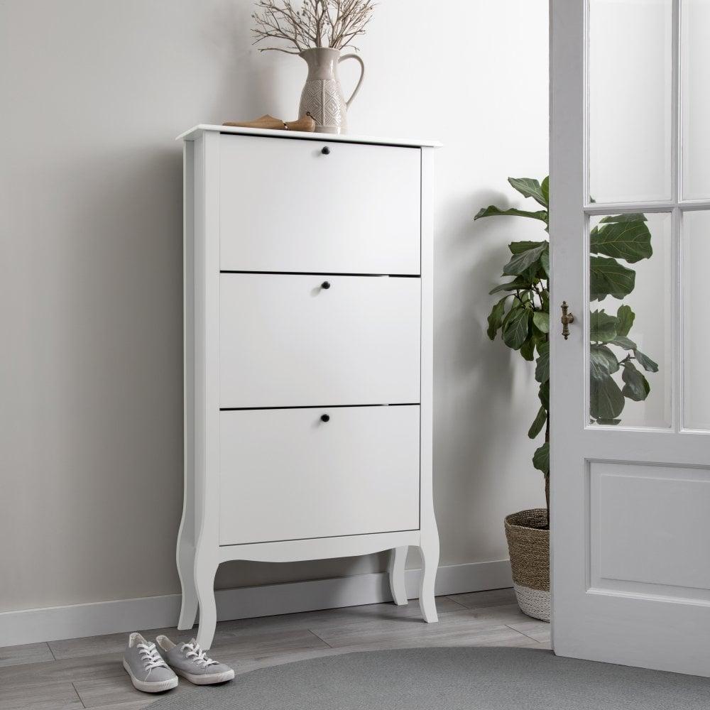 Camille 3 Drawer Shoe Storage in White