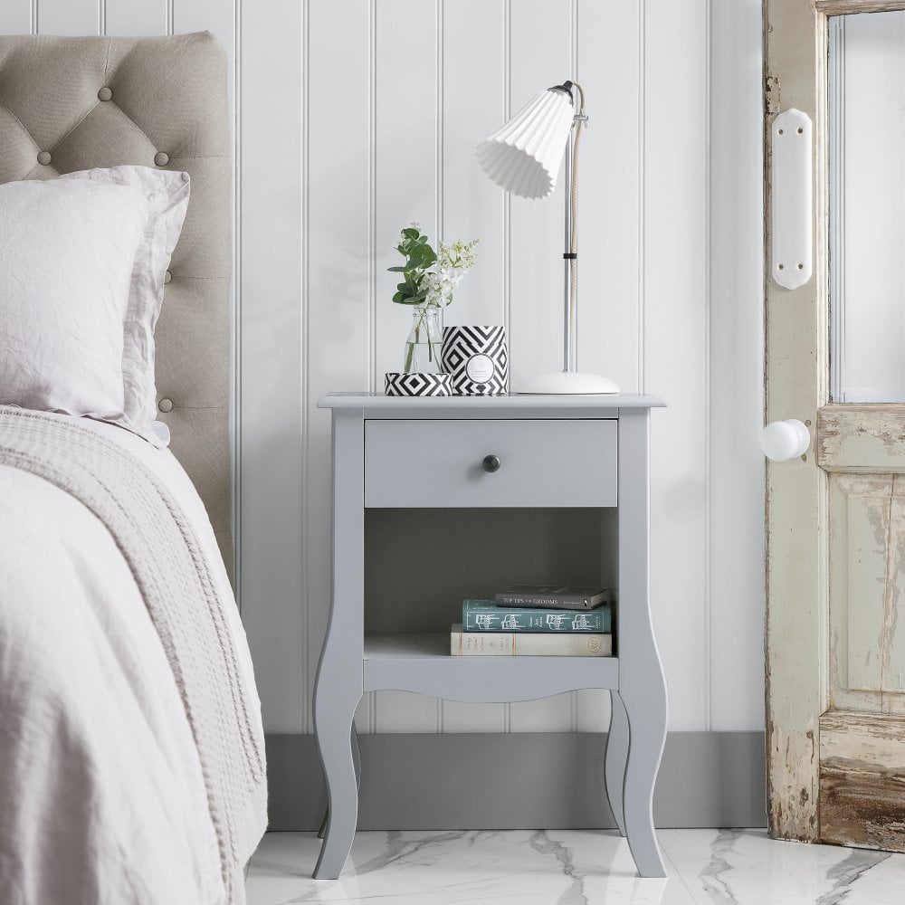 Camille Bedside Table in Silk Grey
