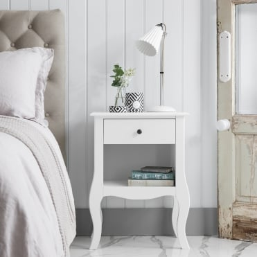 Camille Bedside Table in White