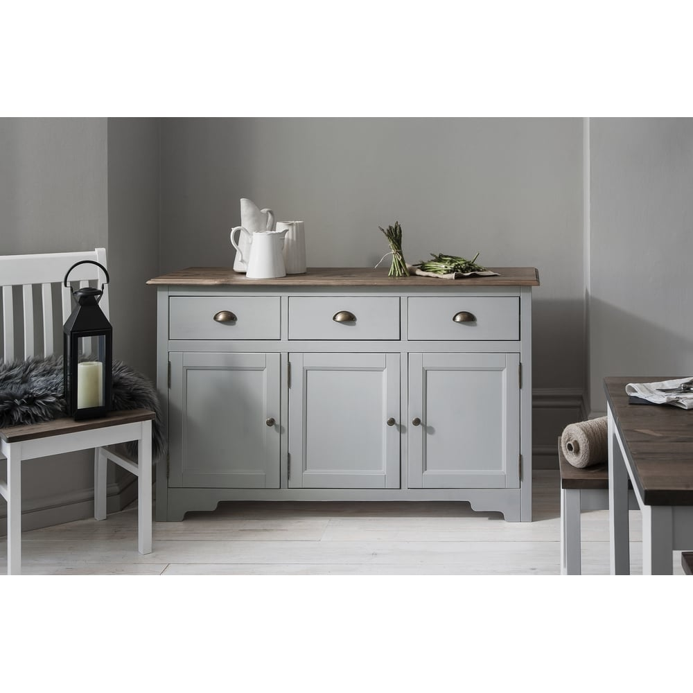 Bon Canterbury 3 Drawer Sideboard Cabinet With Solid Doors In Silk Grey And Dark  Pine