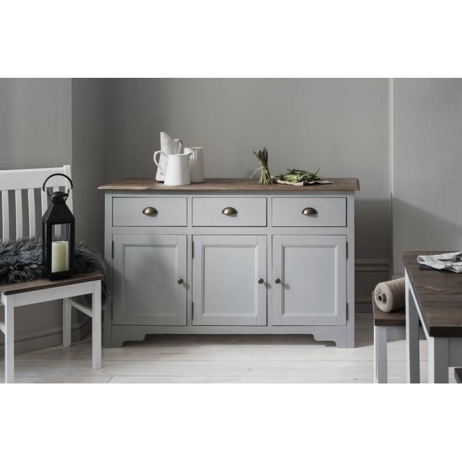 Canterbury 3 Drawer Sideboard Cabinet with Solid Doors in Silk Grey and Dark Pine