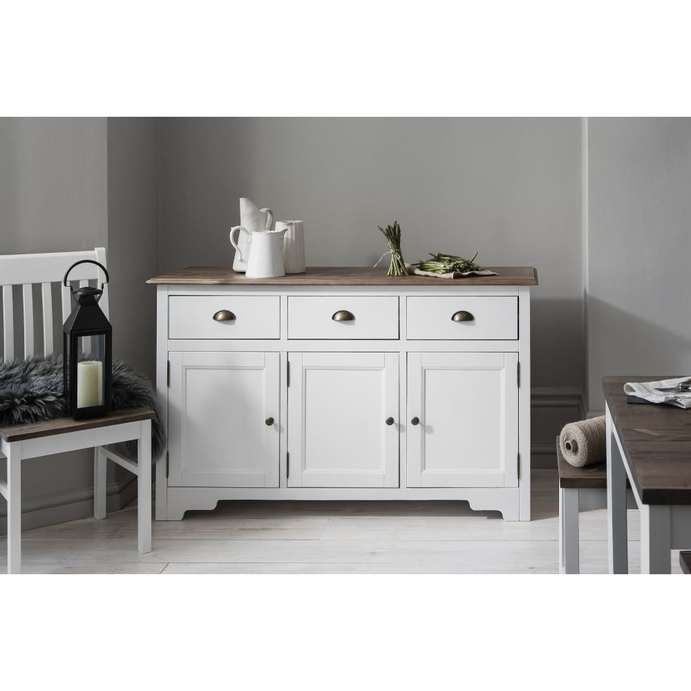 Canterbury 3 Drawer Sideboard In White & Dark Pine