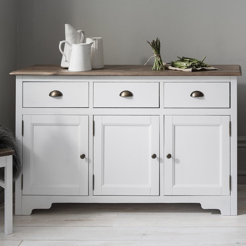 Canterbury 3 Drawer Sideboard Cabinet With Solid Doors In White And Dark  Pine