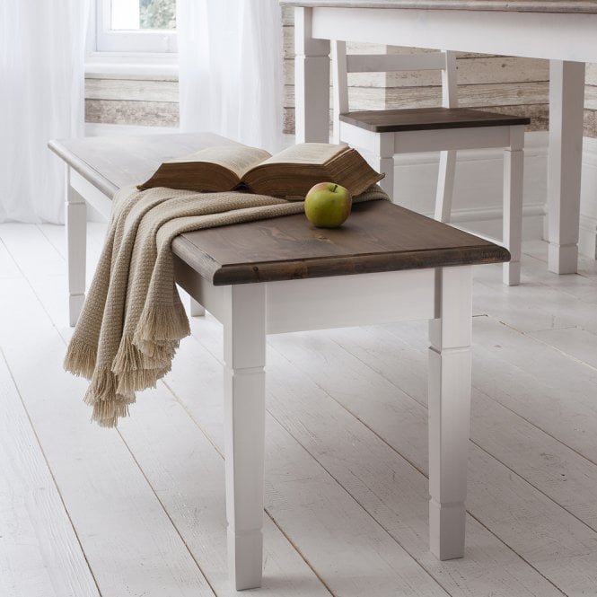 Dining Table And Chairs Canterbury White And Dark Pine: Canterbury White Dining Table Bench