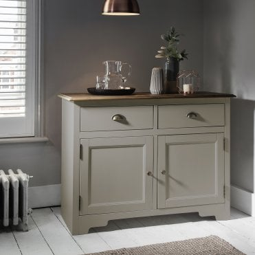 Canterbury cupboard in Silk Grey and Dark Pine 2 Drawer cabinet