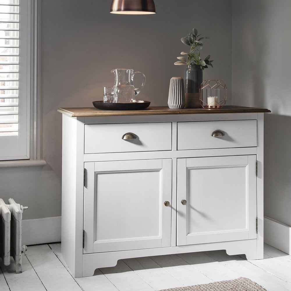 White Pine Cabinets: Canterbury Cupboard In White And Dark Pine 2 Drawer