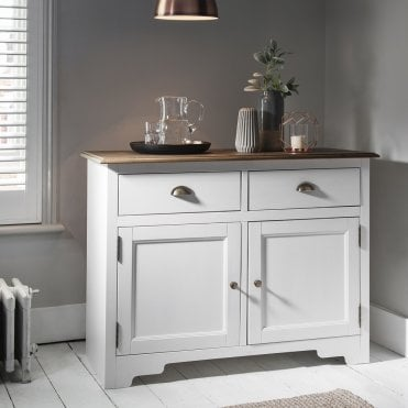 Canterbury cupboard in White and Dark Pine 2 Drawer cabinet