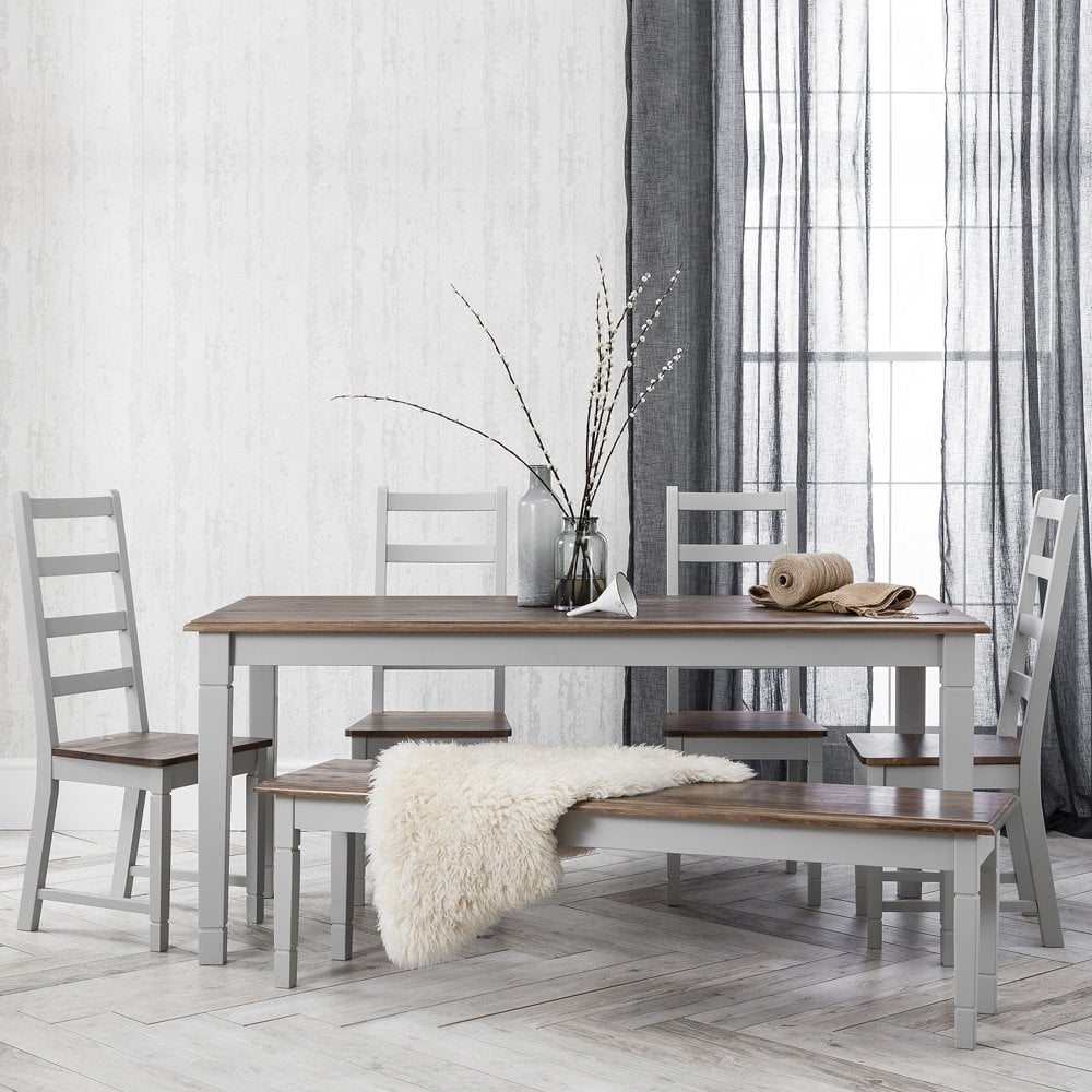 Magnificent Canterbury Dining Set 4 Chairs Bench In Dark Pine Grey 140Cm Alphanode Cool Chair Designs And Ideas Alphanodeonline