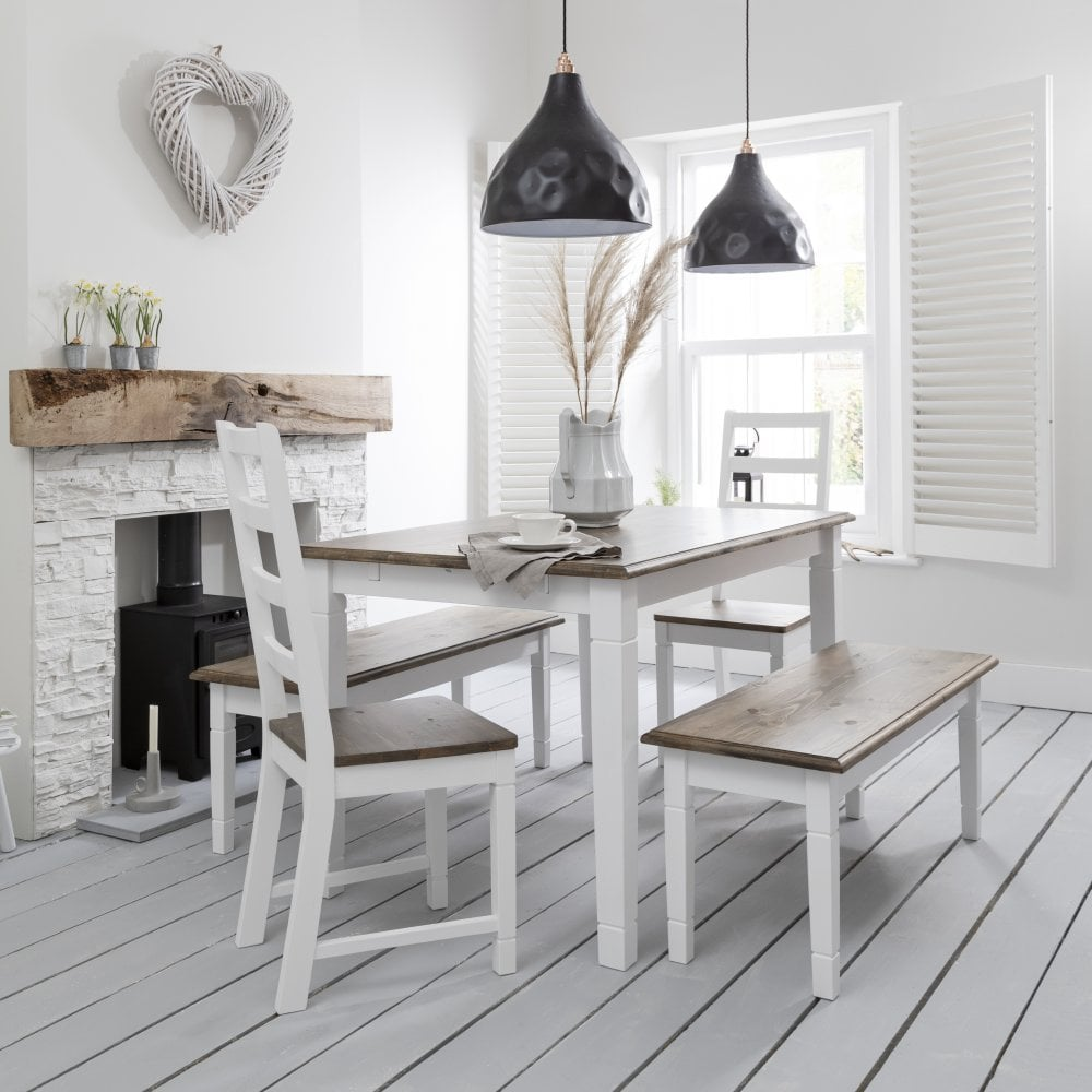 Dinette Bench Seating: Canterbury Dining Table In White & Dark Pine