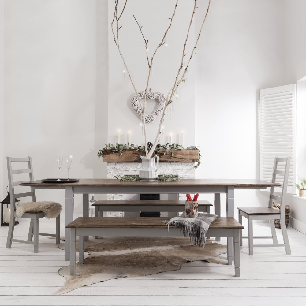 Canterbury Dining Table With 2 Chairs 2 Benches 2 Extensions In Silk Grey And Dark Pine Noa Nani