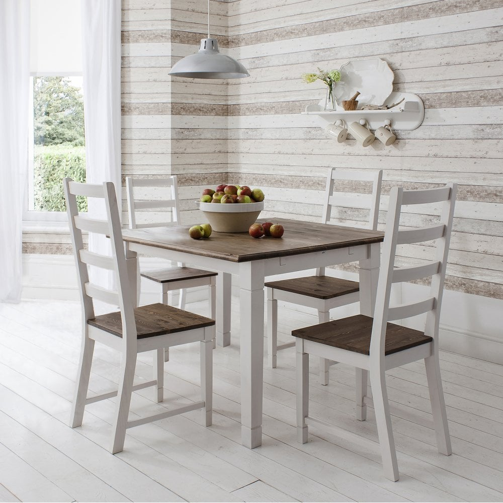 Miraculous Canterbury Dining Table With 4 Chairs 85Cm X 85Cm In Dark Pine White Ncnpc Chair Design For Home Ncnpcorg