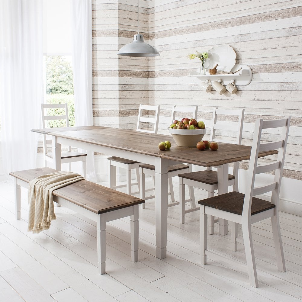 Canterbury Dining Table with 4 Chairs, Bench & Extensions | Noa & Nani