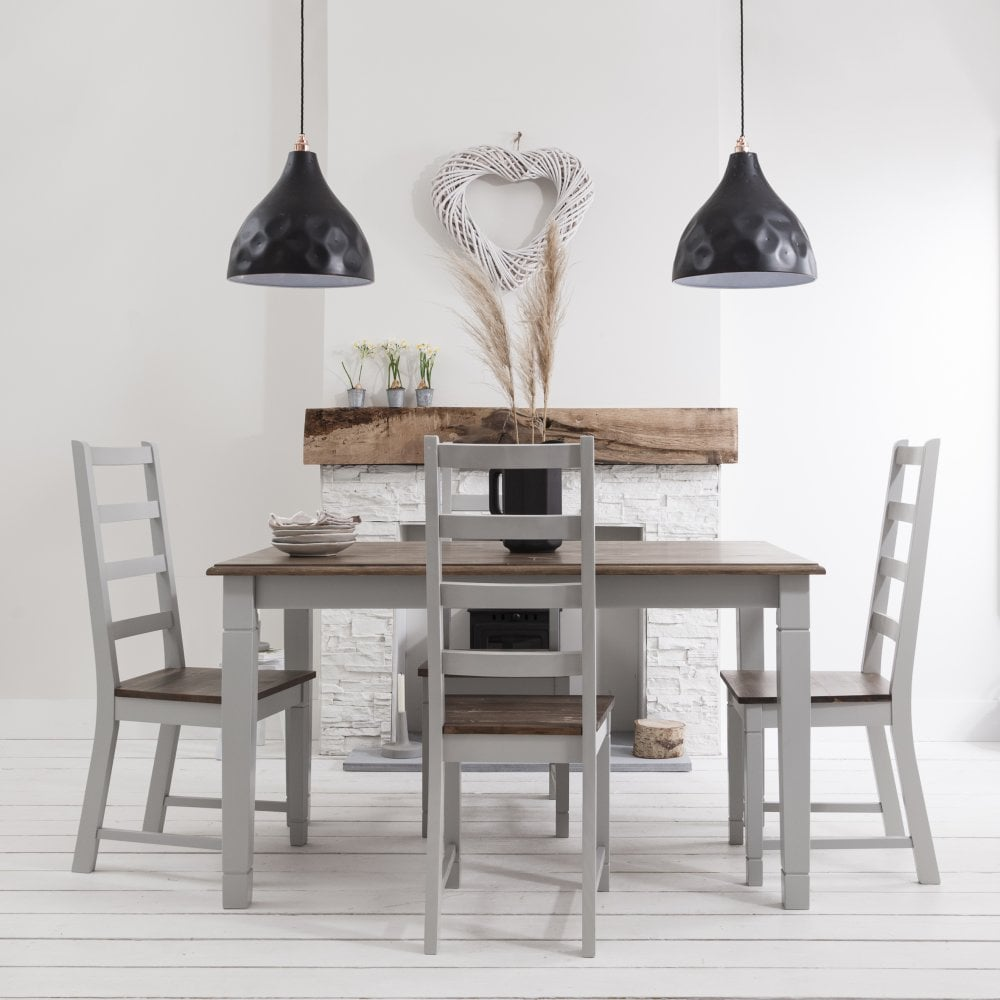 Amazing Canterbury Dining Table With 4 Chairs In Dark Pine Grey 140Cm Ncnpc Chair Design For Home Ncnpcorg