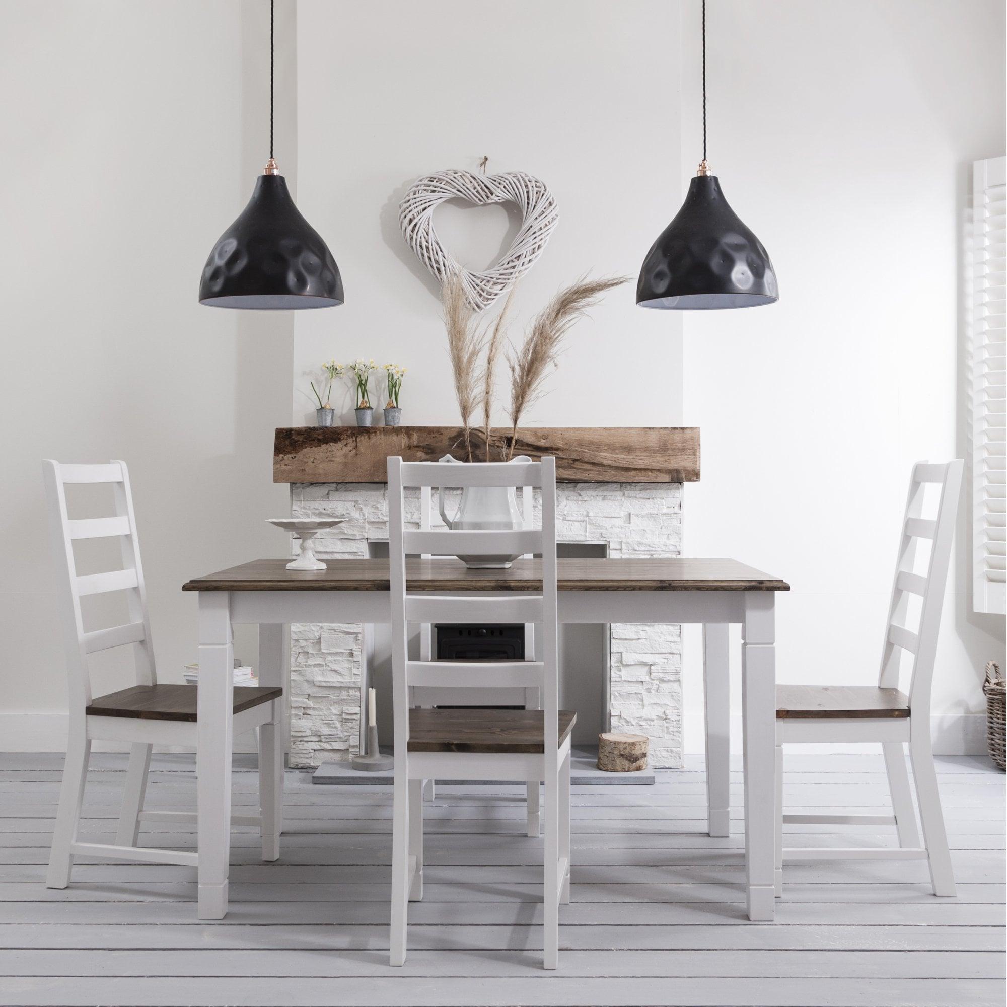 4 Chairs Canterbury White and Dark Pine