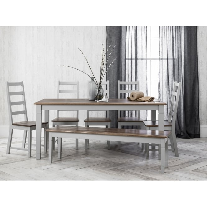 Canterbury Dining Table with 5 Chairs & Bench in Silk Grey and Dark Pine