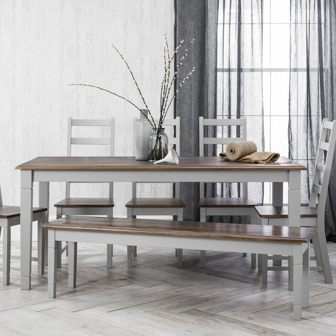 Canterbury Dining Table with 5 Chairs & Bench in Silk Grey and Dark Pine with 2 Extension Leaves