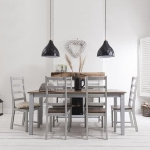Canterbury Dining Table with 6 Chairs in Silk Grey and Dark Pine