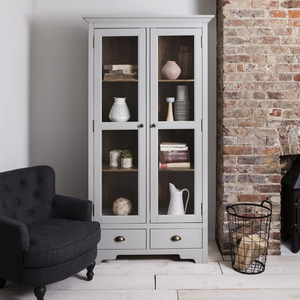 Delicieux Canterbury Display Cabinet Dresser In Dark Pine And Grey