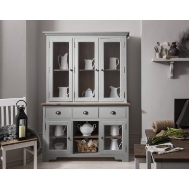 Canterbury Dresser and Sideboard with Glass Doors in Silk Grey and Dark Pine