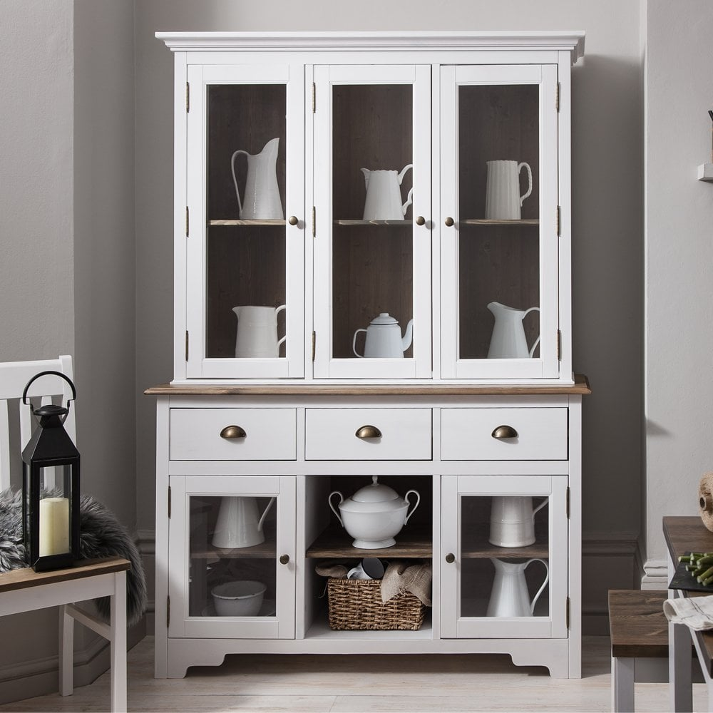 Canterbury Dresser And Sideboard With Glass Doors In White And Dark Pine