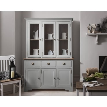 Canterbury Dresser and Sideboard with Solid Doors in Silk Grey and Dark Pine