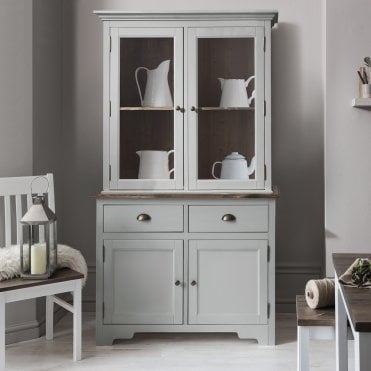 Canterbury Dresser Cabinet with 2 Doors in Silk Grey and Dark Pine