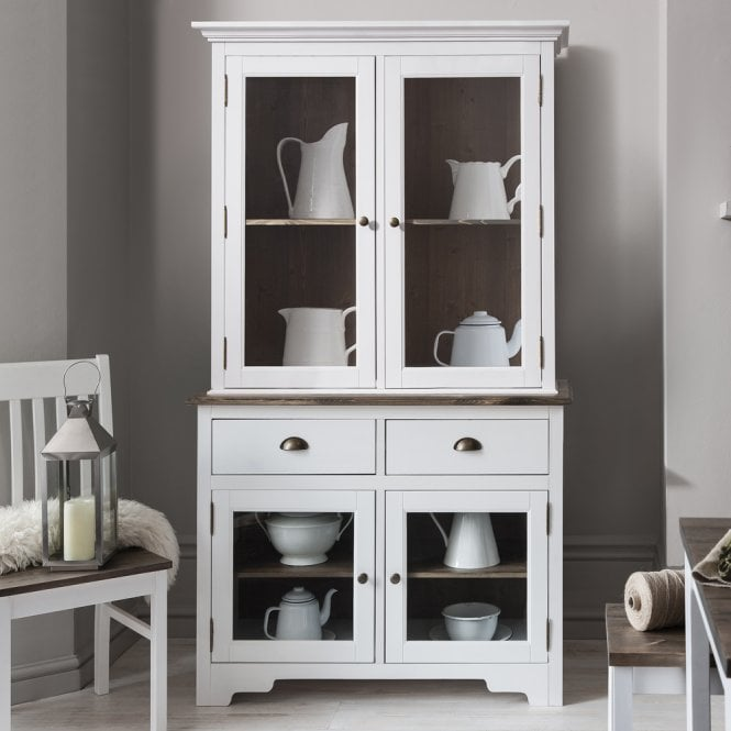 Canterbury Dresser Cabinet with 2 Drawer Glass Doors in White and Dark Pine