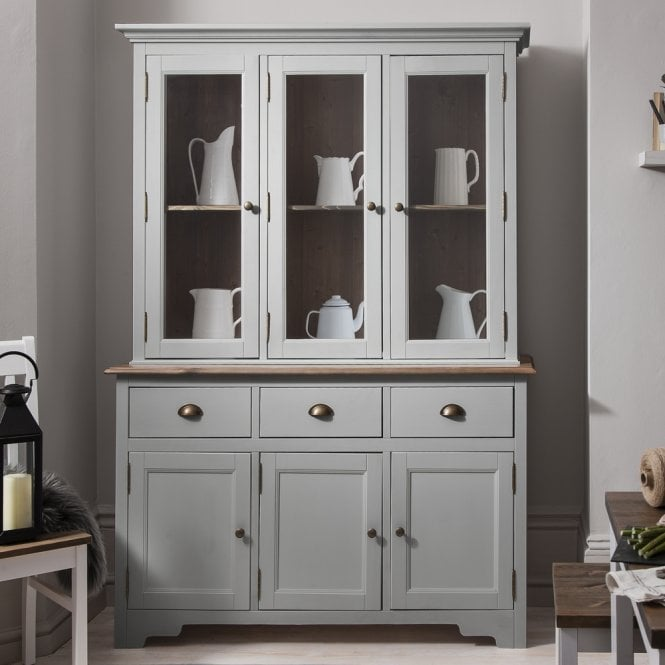 Canterbury Dresser Top Large in Silk Grey and Dark Pine