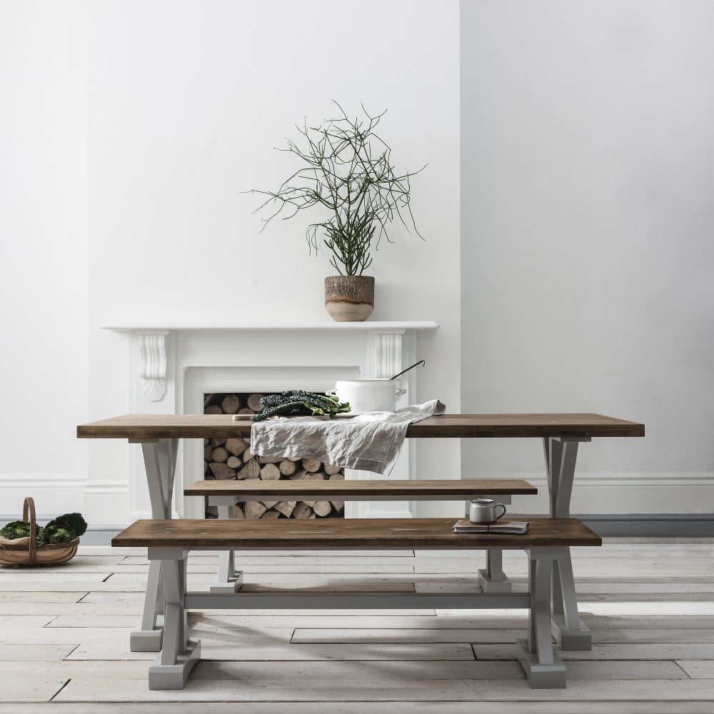 Canterbury Farmhouse Table And 2 Benches In Grey And Dark