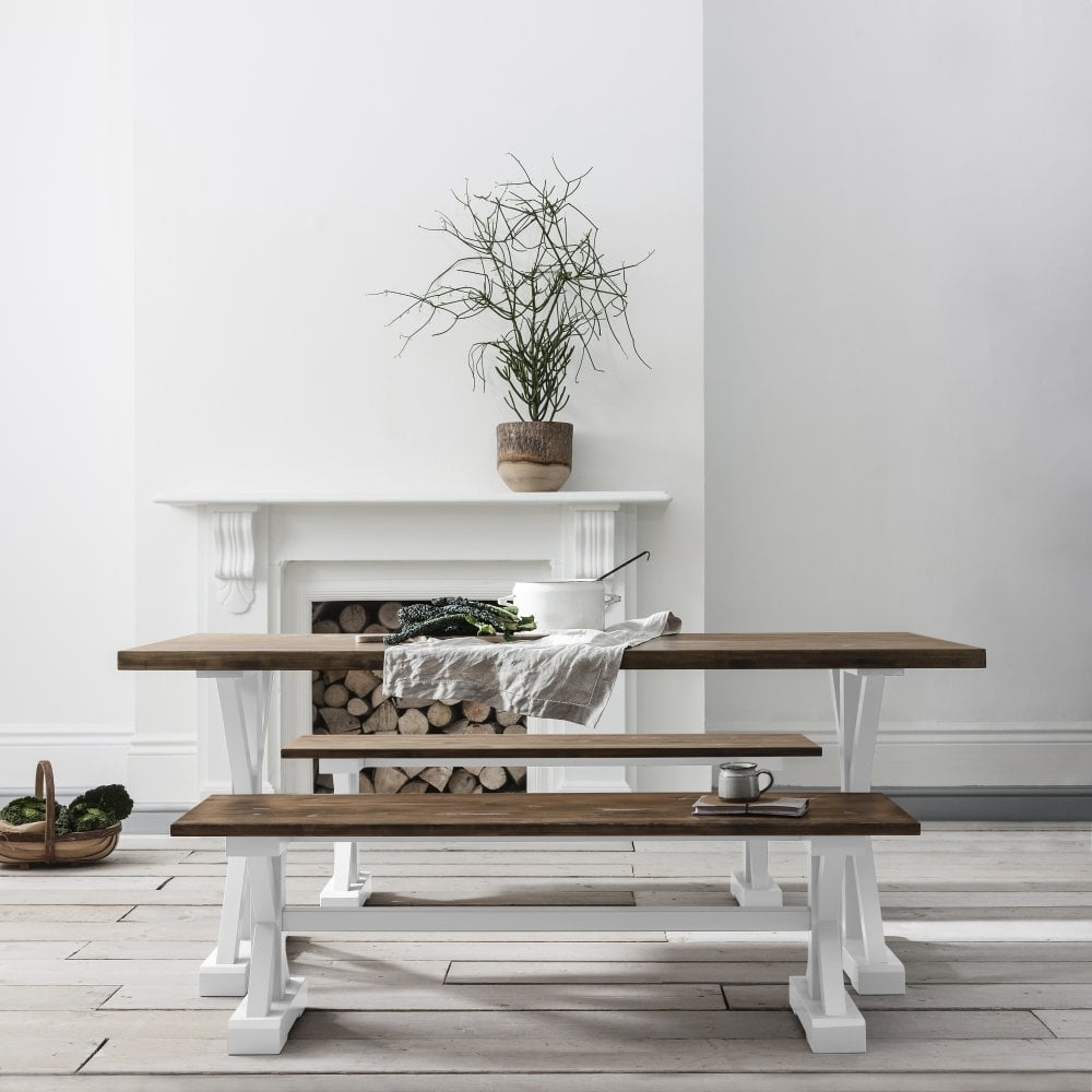 Dining Table And Chairs Canterbury White And Dark Pine: Canterbury Farmhouse Table And 2 Benches In White And Dark