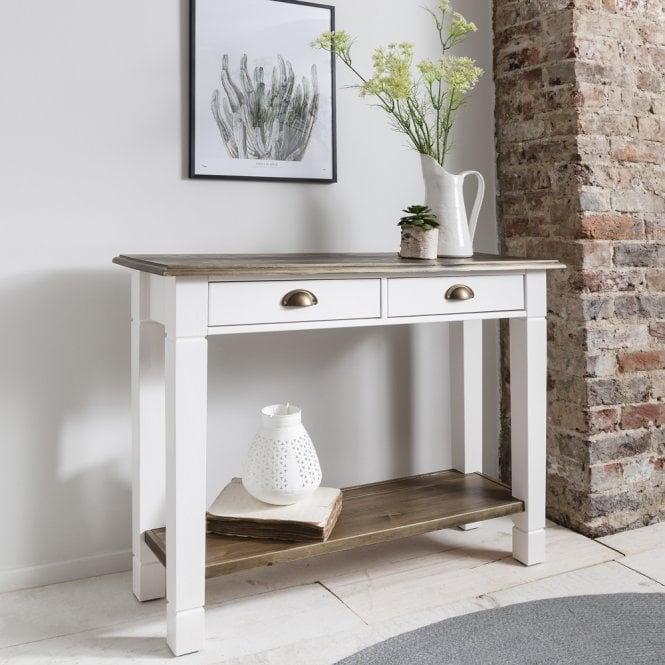 Dining Table And Chairs Canterbury White And Dark Pine: Canterbury Hallway Telephone Table Console In Dark Pine
