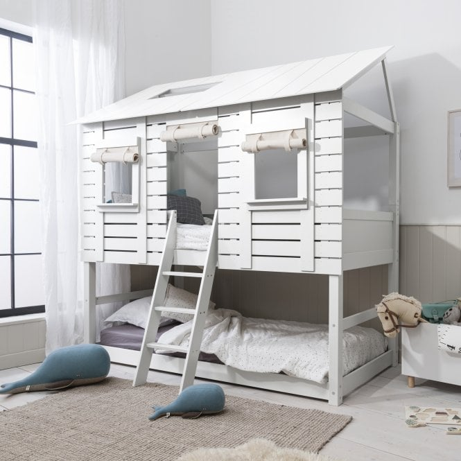 Christopher Treehouse Midsleeper Bed with Sleepover Underbed in Classic White