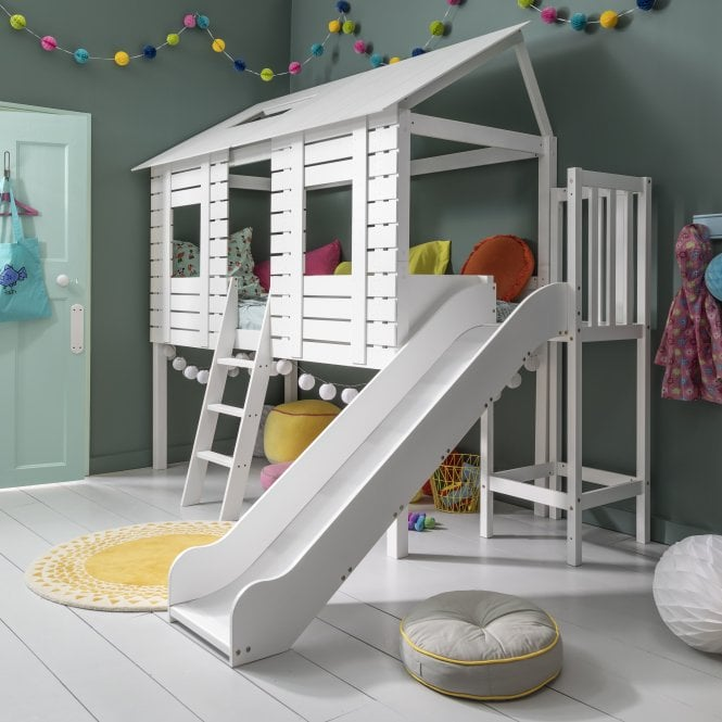 Christopher Treehouse Midsleeper Bed with Slide in Classic White