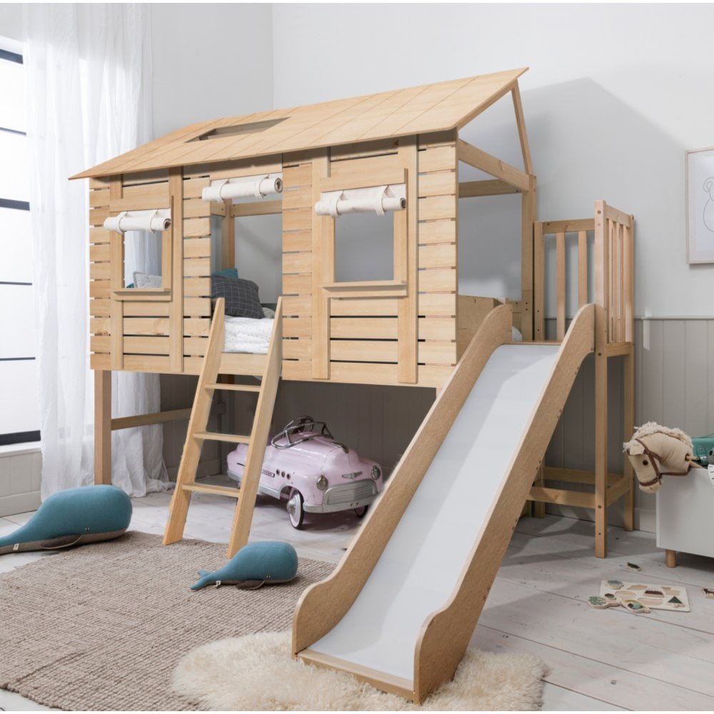 Christopher Treehouse Midsleeper Bed with Slide in Natural Pine
