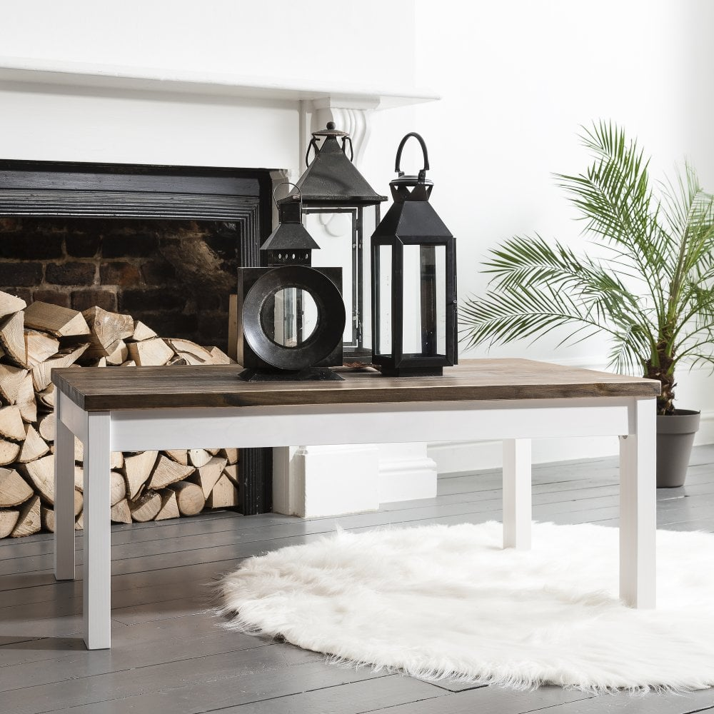 Beautiful Coffee Table Canterbury Large In White And Dark Pine