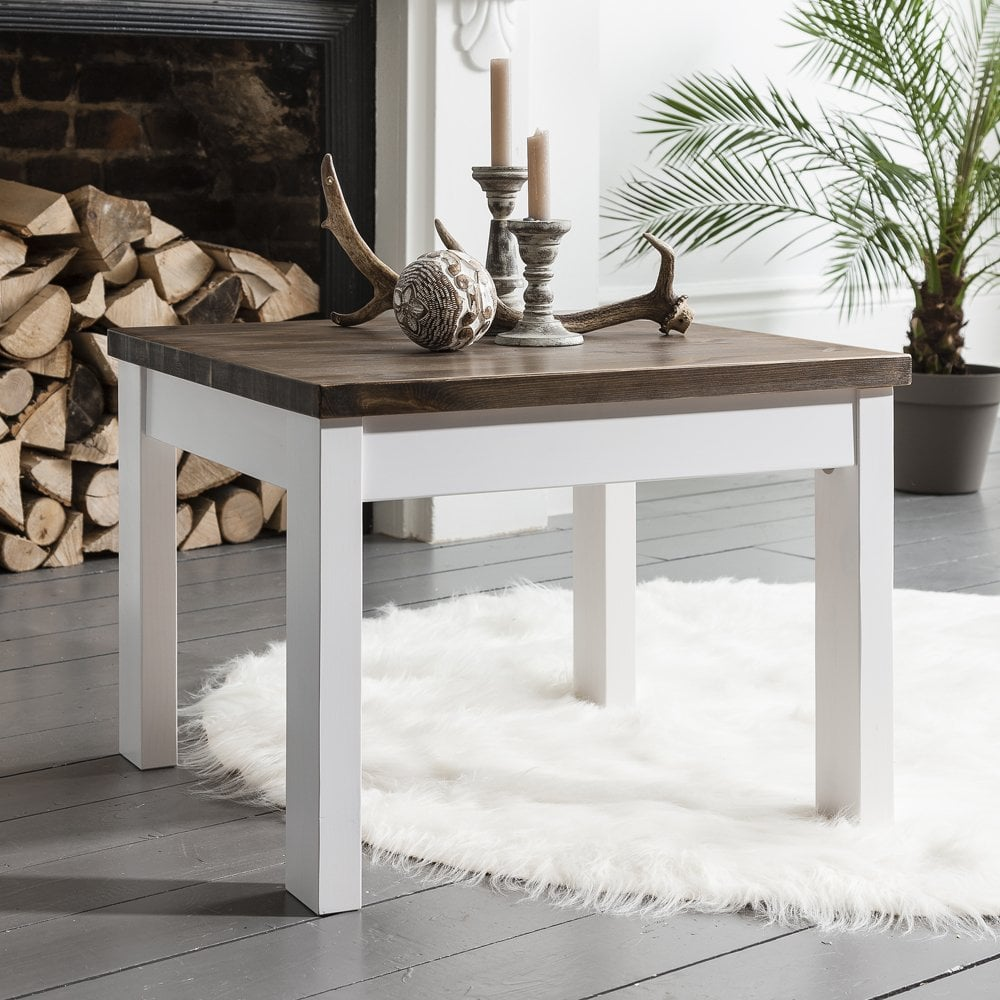 Coffee Table Canterbury Square In White And Dark Pine Noa Nani