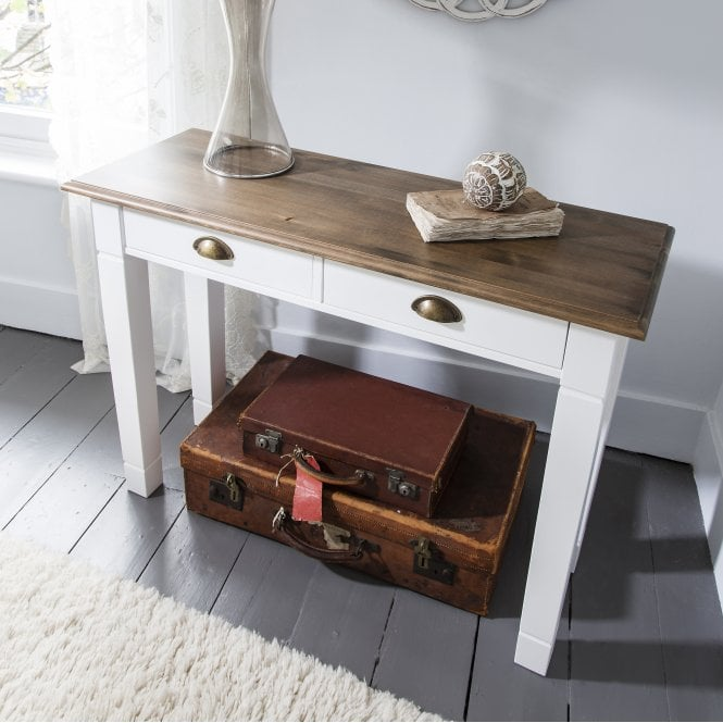 Console Table Canterbury in White and Dark Pine