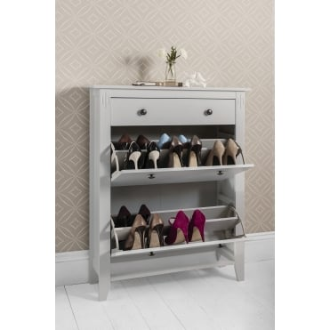 Cotswold Shoe Storage Unit in Silk Grey Shoe Cabinet