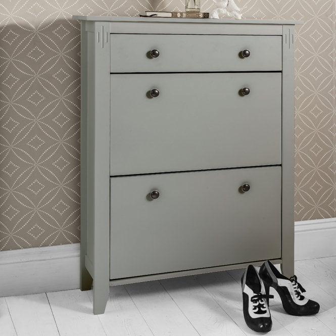 Cotswold Shoe Storage Unit In Silk Grey Shoe Cabinet