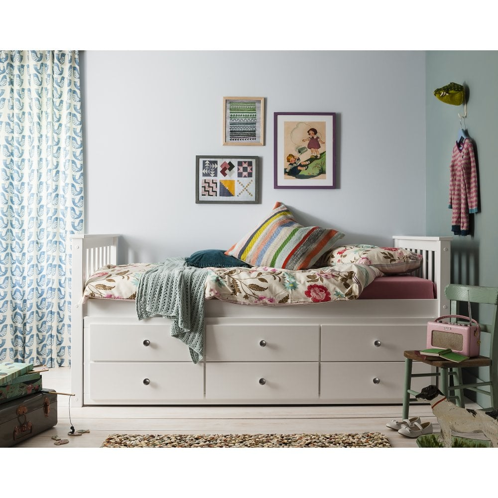 Loki Single Bed with Pull Out Drawers Trundle Noa Nani