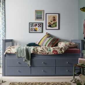 Day Bed Loki Single Bed with Pullout Drawers and Trundle Under bed in Grey