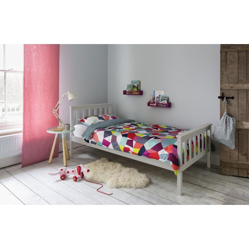 dorset single bed in silk grey