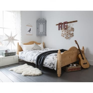Double Bed Olivia in Natural Pine Solid Wood Frame